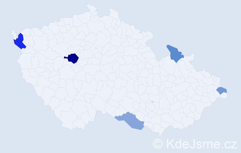 Příjmení: 'Cisko', počet výskytů 8 v celé ČR