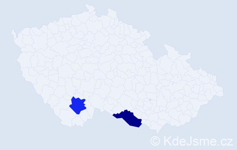 Příjmení: 'Cermak', počet výskytů 2 v celé ČR