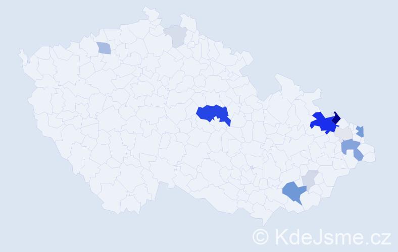 Příjmení: 'Levay', počet výskytů 42 v celé ČR