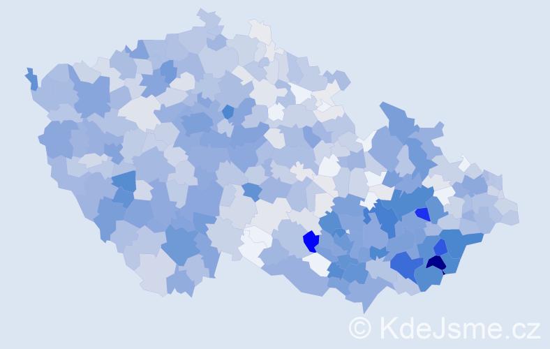 Příjmení: 'Kovařík', počet výskytů 3566 v celé ČR