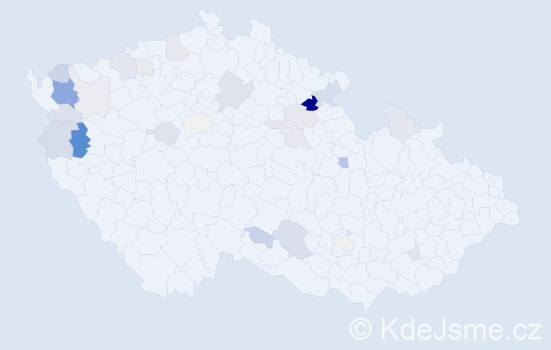 Příjmení: 'Banová', počet výskytů 71 v celé ČR