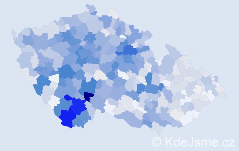 Příjmení: 'Čížek', počet výskytů 3783 v celé ČR