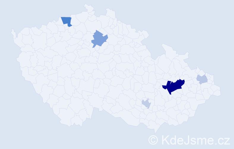 Příjmení: 'Čásková', počet výskytů 10 v celé ČR