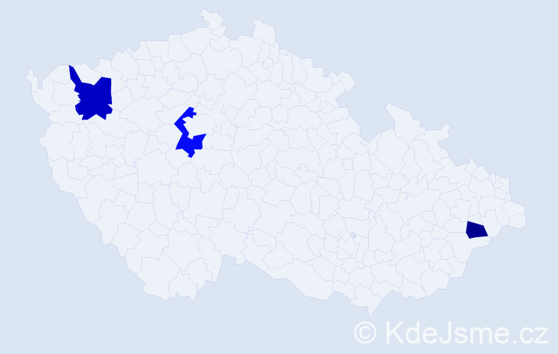 Příjmení: 'Bohnová', počet výskytů 5 v celé ČR