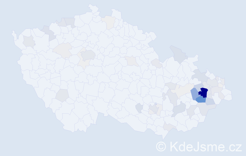 Příjmení: 'Hub', počet výskytů 228 v celé ČR