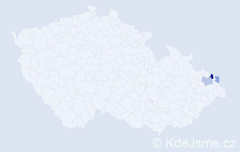 Příjmení: 'Ciesariková', počet výskytů 9 v celé ČR