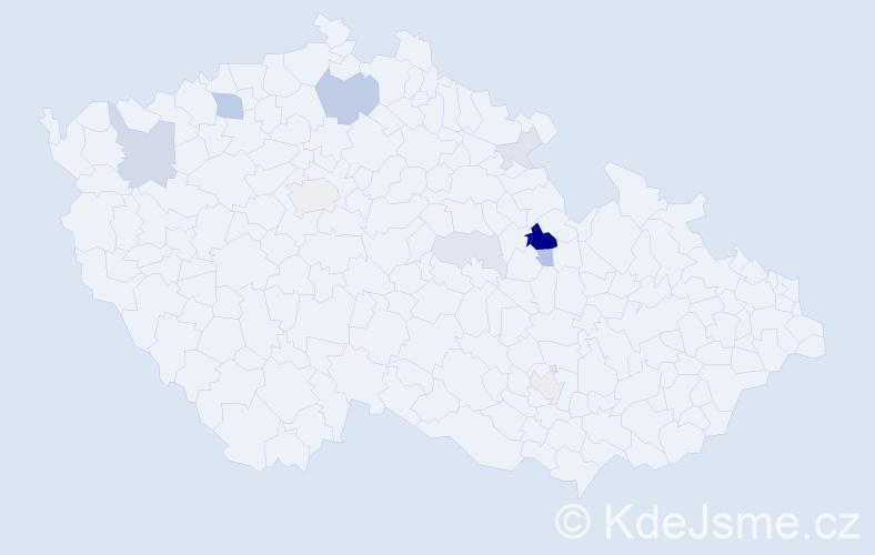 Příjmení: 'Lukesle', počet výskytů 25 v celé ČR