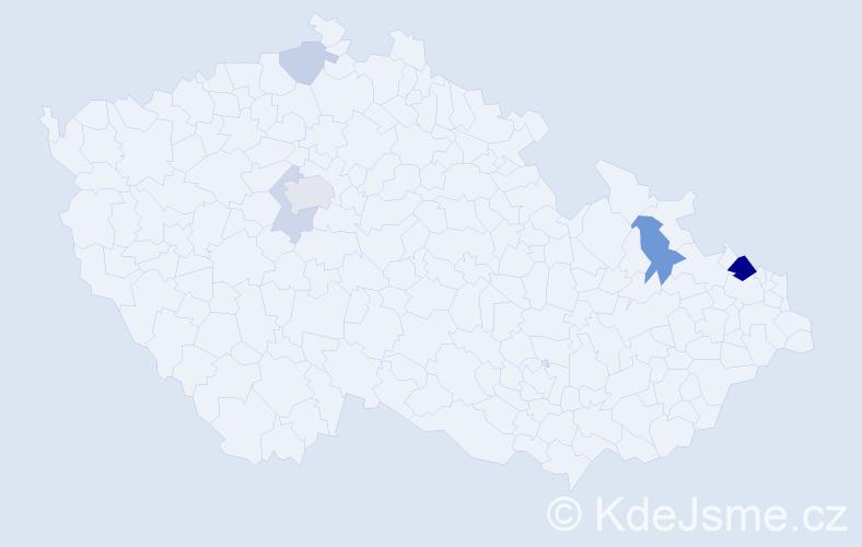 Příjmení: 'Hruschka', počet výskytů 13 v celé ČR