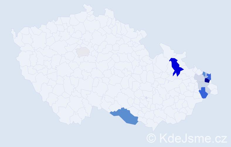Příjmení: 'Czakan', počet výskytů 38 v celé ČR