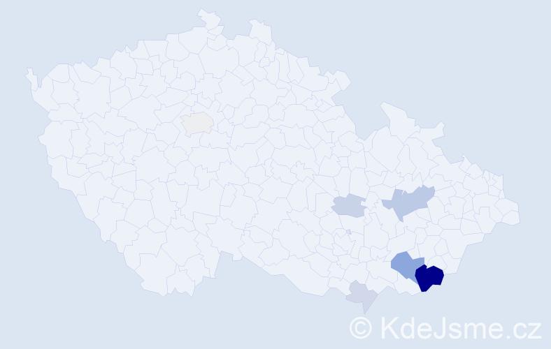 Příjmení: 'Hurbiš', počet výskytů 23 v celé ČR