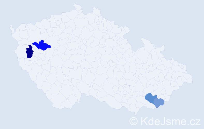Příjmení: 'Hadbavná', počet výskytů 5 v celé ČR