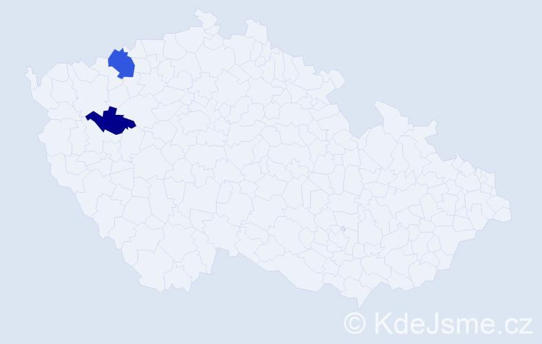 Příjmení: 'Ivanyková', počet výskytů 3 v celé ČR