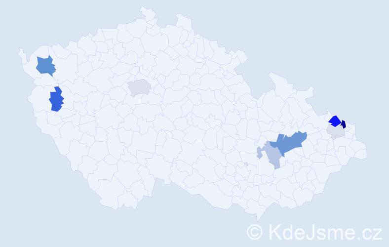 Příjmení: 'Junker', počet výskytů 19 v celé ČR