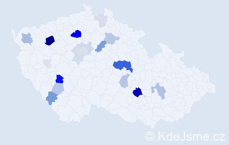 Příjmení: 'Čtverák', počet výskytů 43 v celé ČR