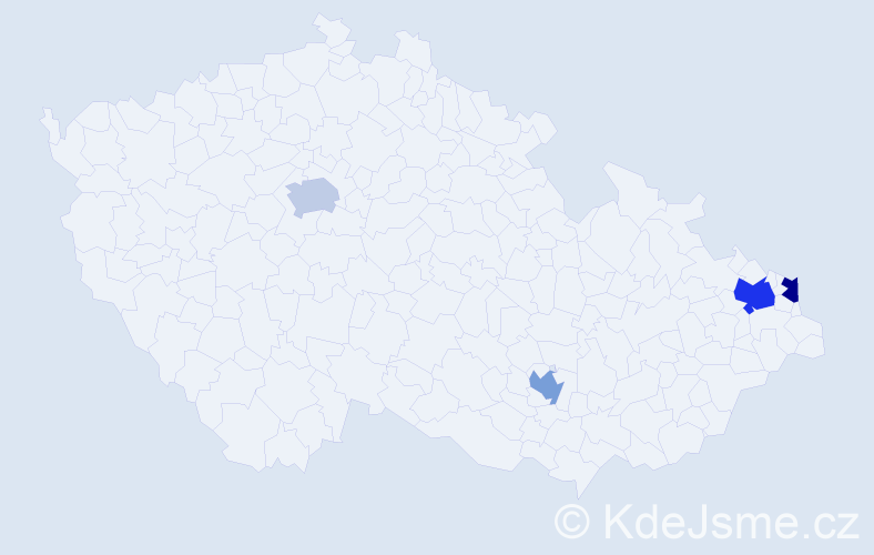 Příjmení: 'Ištoňa', počet výskytů 5 v celé ČR