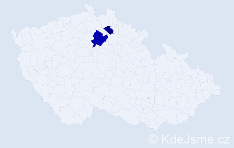 Příjmení: 'Gaudin', počet výskytů 7 v celé ČR