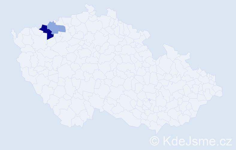 Příjmení: 'Abariová', počet výskytů 5 v celé ČR