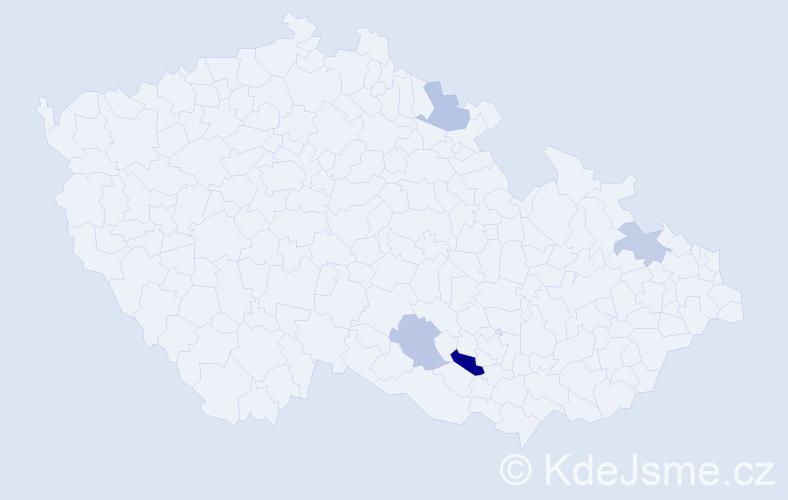 Příjmení: 'Lístek', počet výskytů 6 v celé ČR