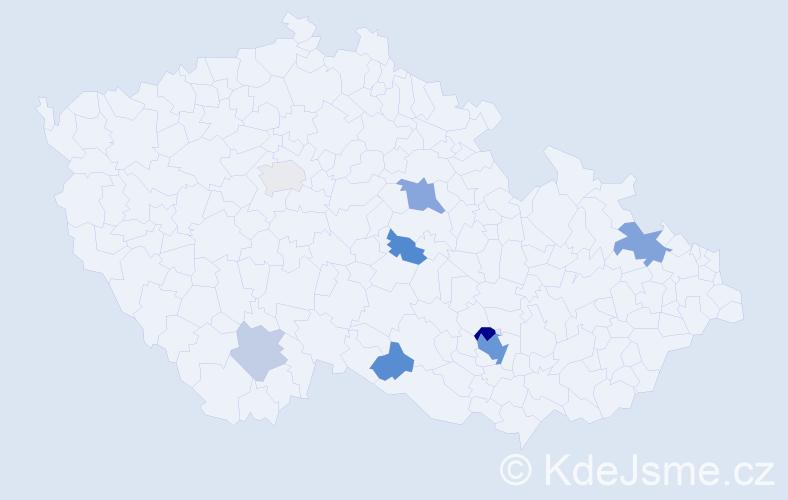 Příjmení: 'Foltan', počet výskytů 18 v celé ČR
