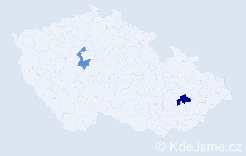 """Příjmení: '""""Le Nguyen""""', počet výskytů 3 v celé ČR"""