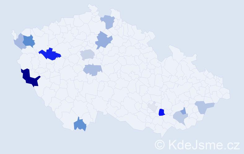 Příjmení: 'Hana', počet výskytů 31 v celé ČR