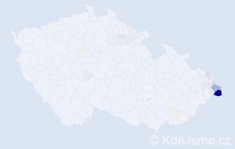 Příjmení: 'Kluz', počet výskytů 204 v celé ČR