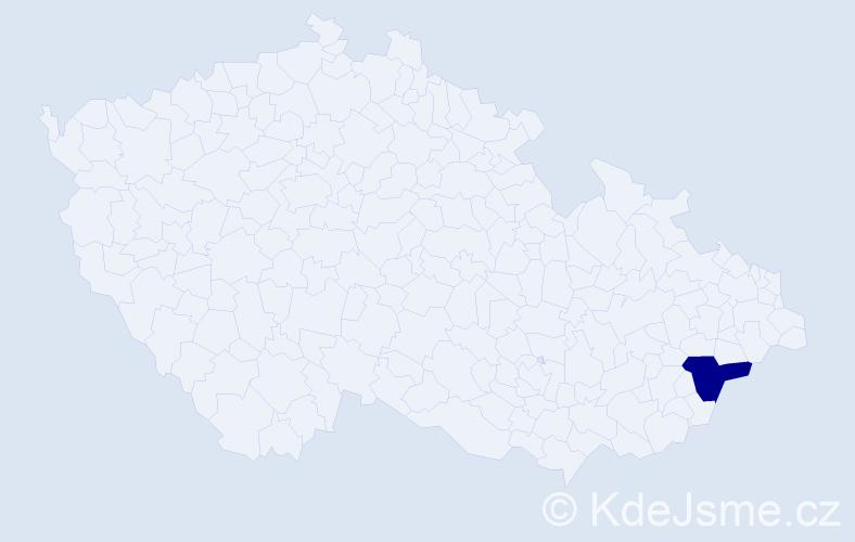 """Příjmení: '""""Hrabovská Kovářová""""', počet výskytů 1 v celé ČR"""