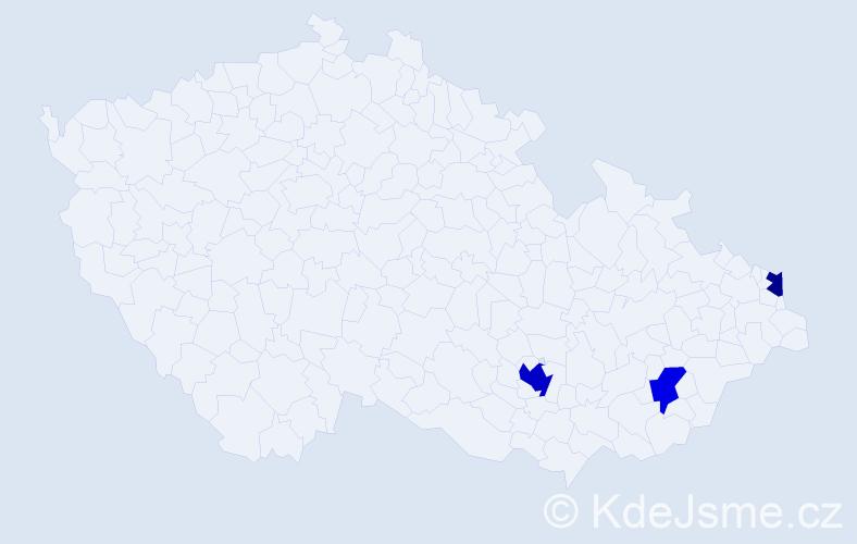 Příjmení: 'Čaďová', počet výskytů 5 v celé ČR