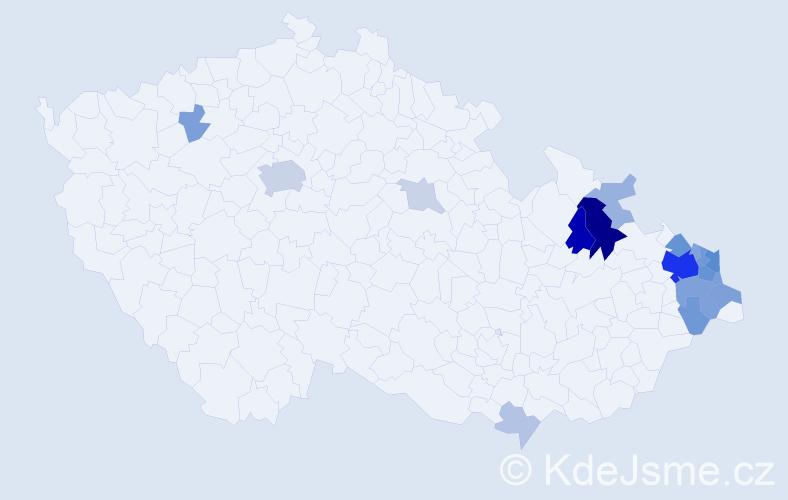 Příjmení: 'Kačmarčík', počet výskytů 56 v celé ČR