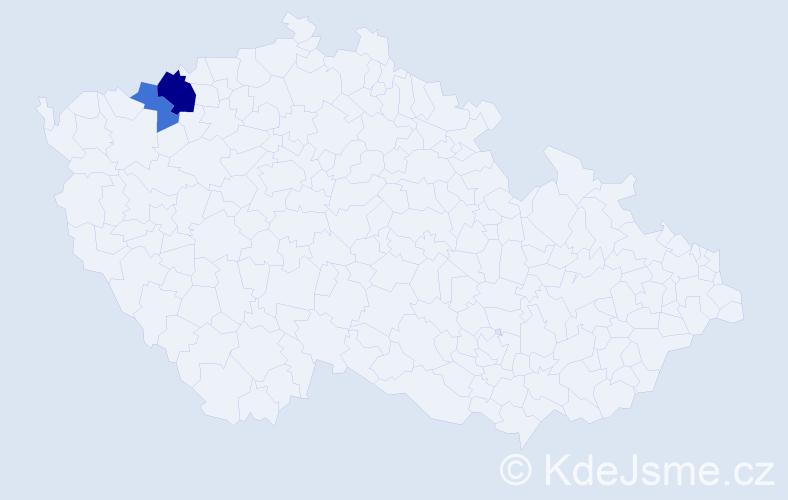 Příjmení: 'Čičkan', počet výskytů 4 v celé ČR