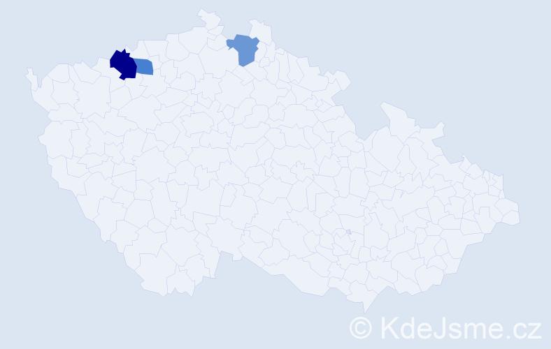 Příjmení: 'Jankeje', počet výskytů 4 v celé ČR
