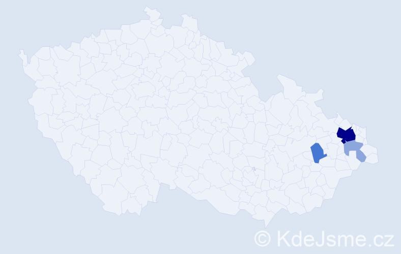 Příjmení: 'Daniecová', počet výskytů 13 v celé ČR
