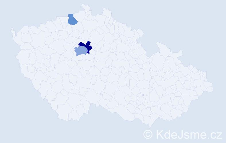 Příjmení: 'Bažuk', počet výskytů 7 v celé ČR