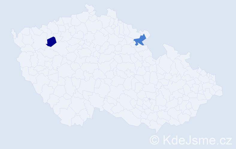 Příjmení: 'Jarčušková', počet výskytů 3 v celé ČR