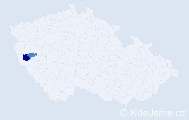 Příjmení: 'Inderholc', počet výskytů 9 v celé ČR