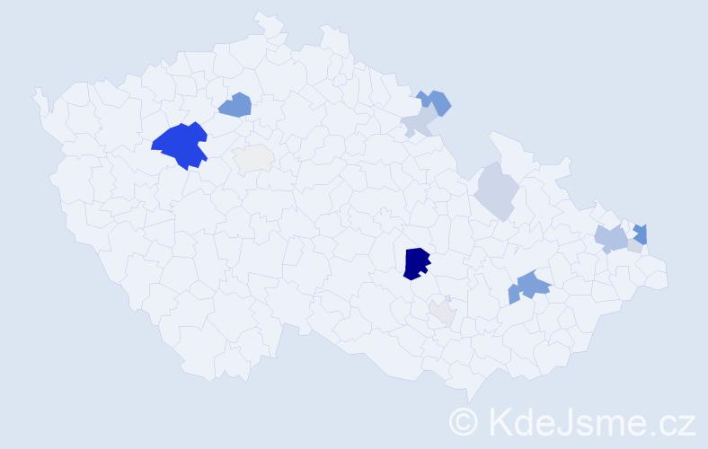 Příjmení: 'Konček', počet výskytů 33 v celé ČR