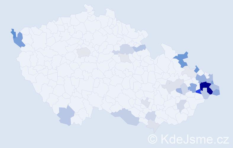 Příjmení: 'Kupčáková', počet výskytů 125 v celé ČR
