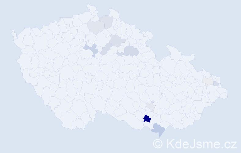 Příjmení: 'Hrozínek', počet výskytů 26 v celé ČR