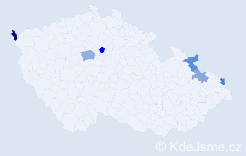 Příjmení: 'Konstantinidisová', počet výskytů 13 v celé ČR