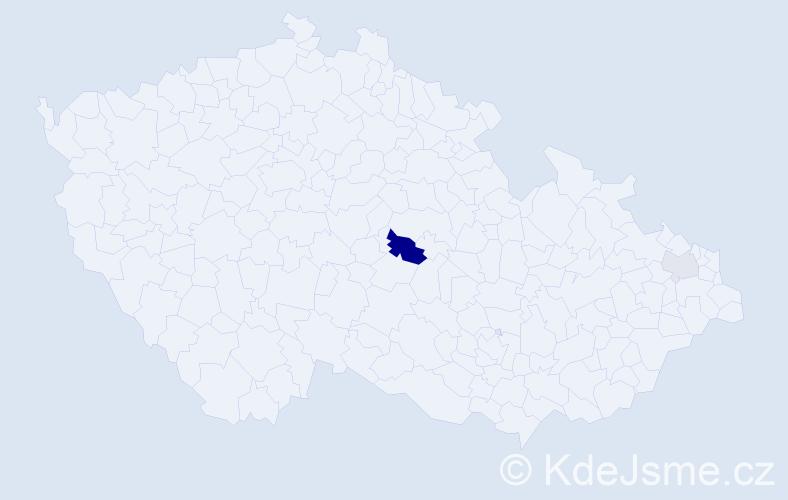 Příjmení: 'Činčila', počet výskytů 5 v celé ČR