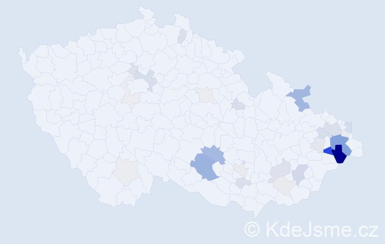 Příjmení: 'Čajánková', počet výskytů 94 v celé ČR