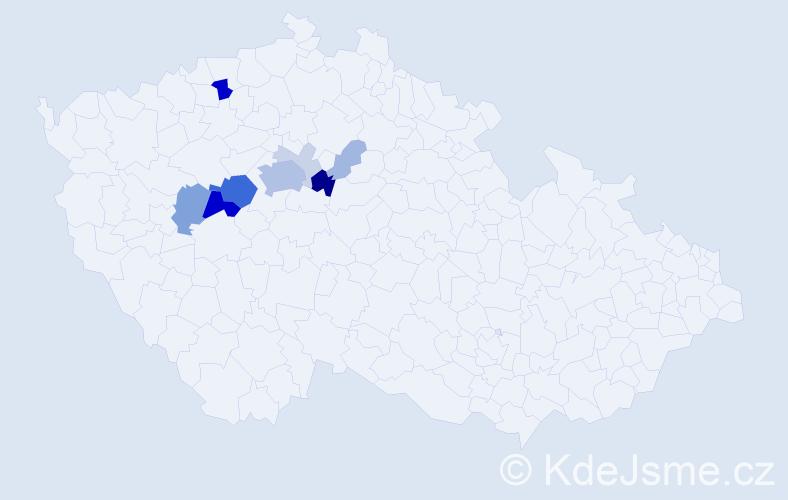 Příjmení: 'Hušner', počet výskytů 33 v celé ČR