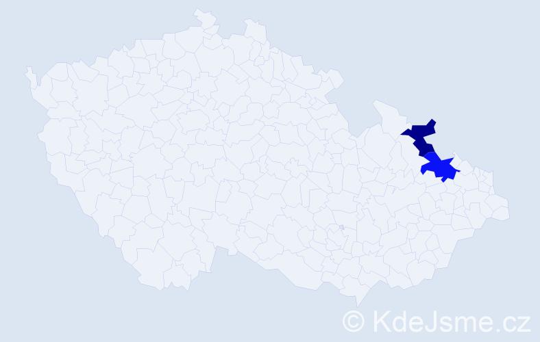 Příjmení: 'Iglár', počet výskytů 5 v celé ČR
