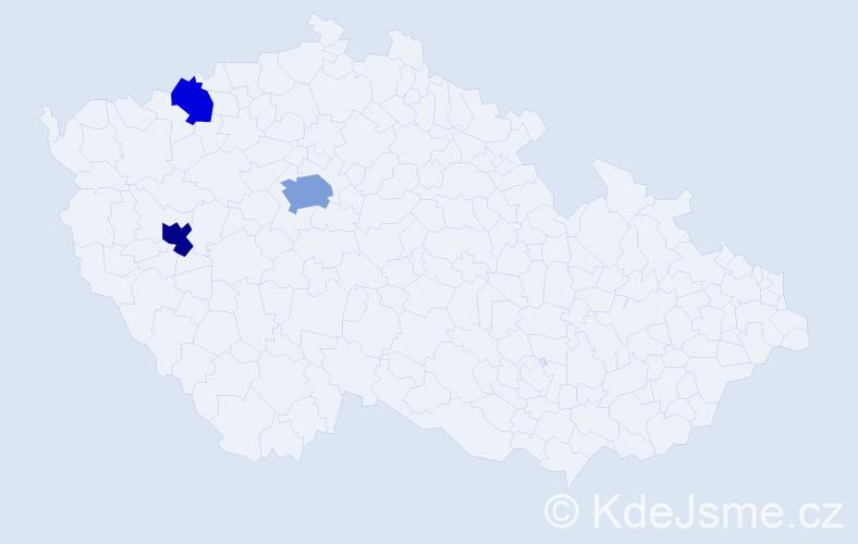Příjmení: 'Končír', počet výskytů 6 v celé ČR