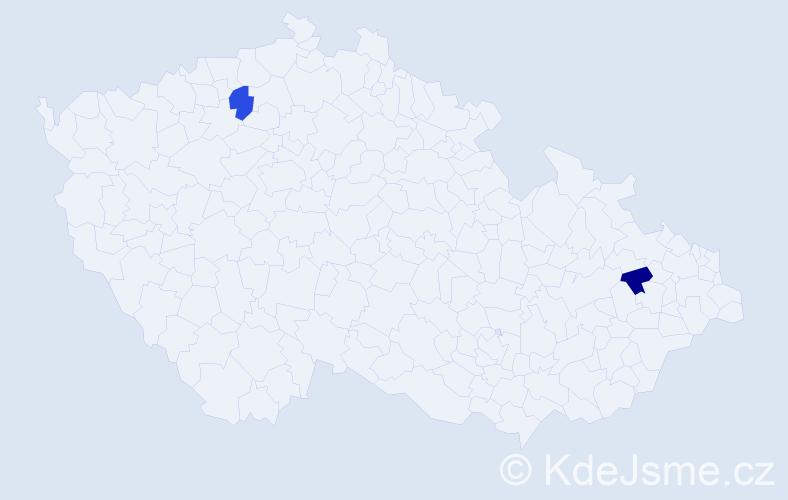 Příjmení: 'Čavolská', počet výskytů 2 v celé ČR