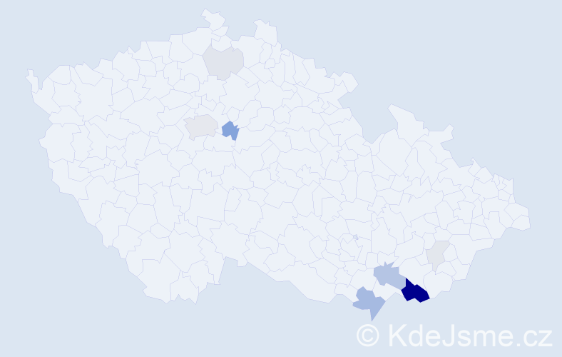Příjmení: 'Gajdoštíková', počet výskytů 35 v celé ČR