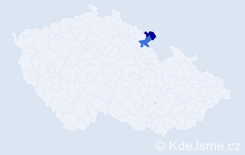 Příjmení: 'Endlérová', počet výskytů 6 v celé ČR
