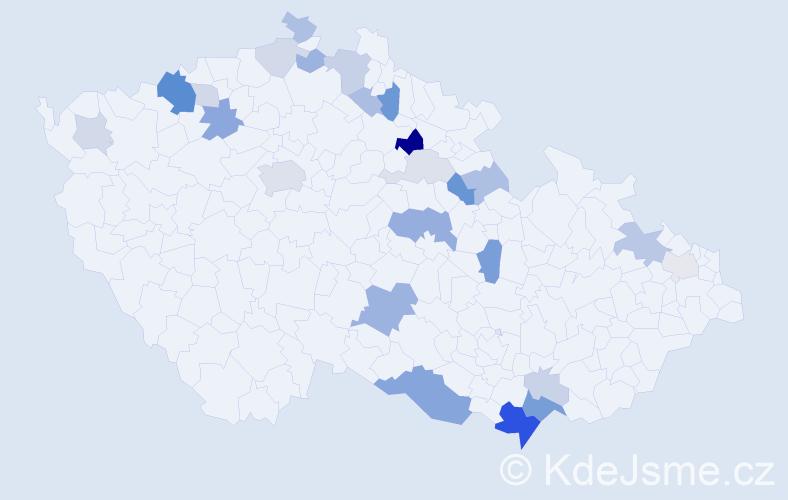 Příjmení: 'Bachmanová', počet výskytů 61 v celé ČR