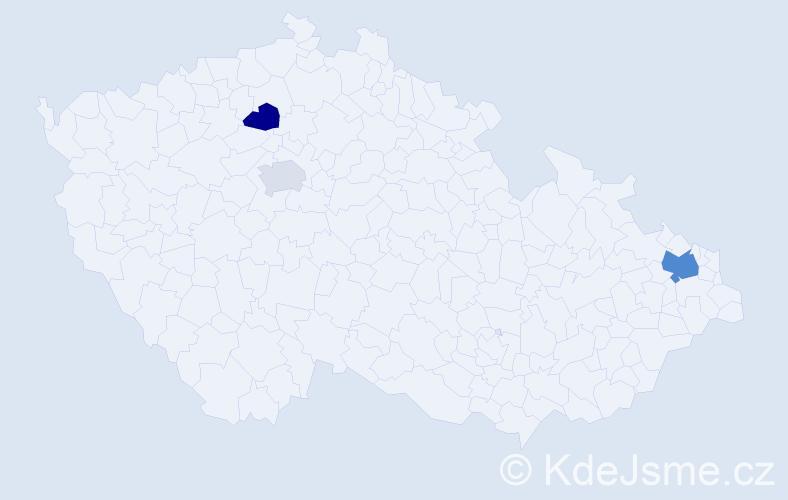 Příjmení: 'Čájová', počet výskytů 5 v celé ČR