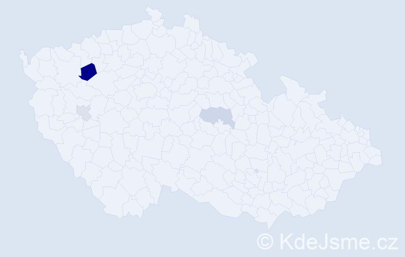 Příjmení: 'Heikerová', počet výskytů 5 v celé ČR